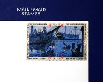 Boston Tea Party    Set of 12 unused vintage postage stamps