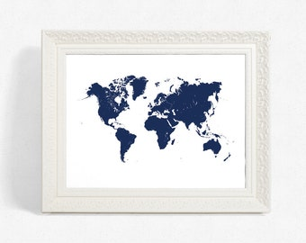 World map art, Printable map art, White and navy blue world map print, Travel poster, Office wall decor