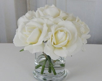 White/offwhite, rose/roses, glass, vase, faux, water, acrylic/illusion, silk, Real Touch, flowers, floral arrangement, centerpiece