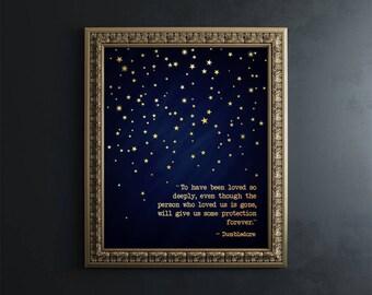Harry Potter Wall Art - Dumbledore Quote Foil Print - Harry Potter Quotes - Harry Potter Decor - Loved Deeply Quote Print - Book Art Print
