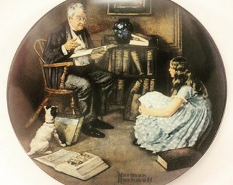 """Norman Rockwell """"The Storyteller"""" 1984 Plate Only with Corporate Seal"""