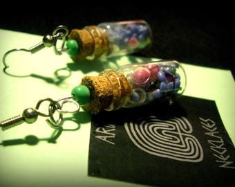 Earrings (mini glass bottles with Cork). * Spring colors *