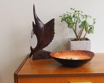 Mid century wooden figure swordfish vintage danish design teak 1960s figure out wood made in Denmark XL size 26 cm