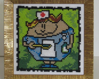 Nurse cross stitch picture gift for nurse Pretty woman Smiling girl Medical student Hospital decor
