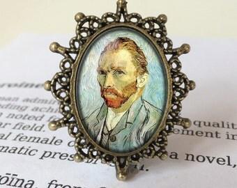Vincent Van Gogh Brooch - Vincent Van Gogh Jewellery, Van Gogh Self Portrait, Vintage Vincent Brooch, Post-Impressionist Jewelry