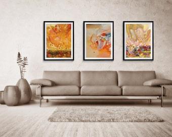 Abstract Print Set of THREE, Abstract, Giclee Print, Blue Abstract, Large Abstract Print, home decor, wall print, ZDQ115116119