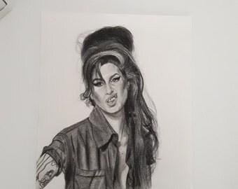 Original portrait drawing of Amy Winehouse art handmade artwork original art handmade artwork