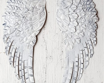 Metal Angel Wings Wall Decor/ Shabby Chic Angel Wings/ Metal Wall decor/ Metal Wall Art White Black Angel Wings