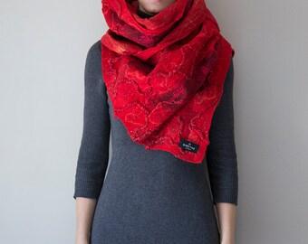 "Merino wool scarf handmade wrap, shawl ""Rouge""  Felted, Christmas gift, Nuno felting, large blanket scarves, women's winter"