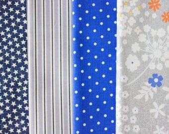 Fabric Bundle Precut 1/2 Yard Each Print 2 Yard Total - Blue