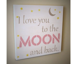 i love you to the moon and back wall art etsy. Black Bedroom Furniture Sets. Home Design Ideas