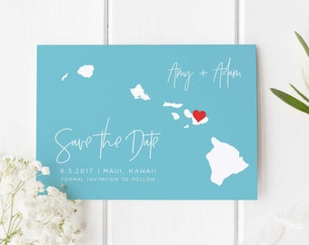 State Save the date, Save the date magnet, Save our date, destination save the date, Hawaii wedding, Digital save the date, save-the-date