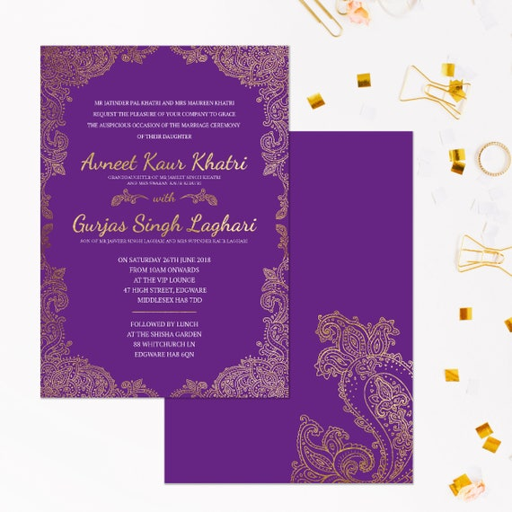 Purple and Gold wedding invitations, Indian Wedding Invitations gold, Wedding invitation sets in gold, Indian wedding invites, A5