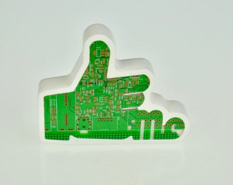 Real Circuit Board / Motherboard Facebook Like Me Button - Thumbs Up Emoji Plaque / Ornament