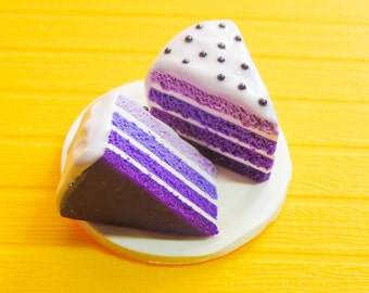 2 Polymer Clay Purple Ombre Cake Slices with light purple Frosting and Dark Purple Micro Beards/Pearl Sprinkles