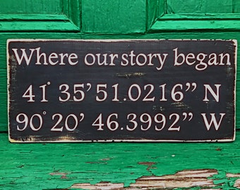 Latitude Longitude sign-Coordinate sign-Housewarming gift-GPS coordinates-Wedding gift-Anniversary gift-Sign-Where our story began