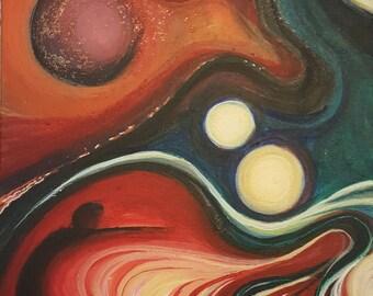 "12"" x 16"" Original Acrylic Painting: ""Ebamugav"""