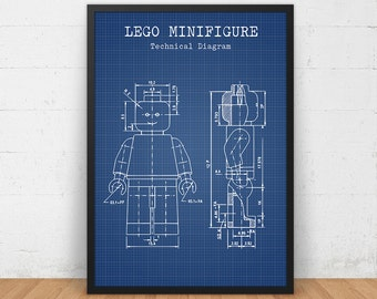 LEGO Blueprint Art Download, LEGO Minifigure Print, Lego Poster, Lego Toys, Kids Room Wall Art, Lego Man, Nursery Decor, LEGO Patent Diagram