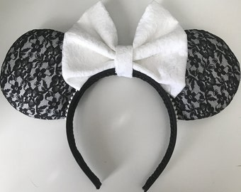 Disney Inspired Black and White Lace Minnie / Mickey Mouse Ears