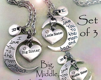 Big, Middle, Little Sisters Set of 3 I Love You to the Moon and Back Big Sister, Middle Sister, Little Sister Necklaces with Letter Charms