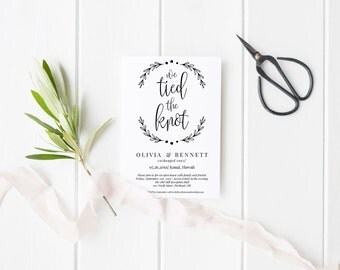 We Tied the Knot Elopement Announcement Printable Template, Editable Instant Download PDF, Just Married Open House Invitation, MAM210_12