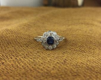 Antique Edwardian 18K White Gold Sapphire & Diamond Daisy Cluster Ring