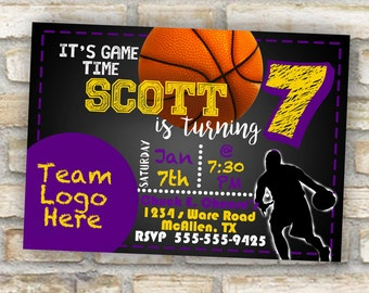Lakers basketball colored theme birthday party invitation for any age boy or girl Los Angeles