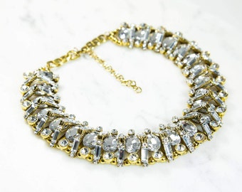 Evita Glamorous Clear Gem Gold Statement Necklace