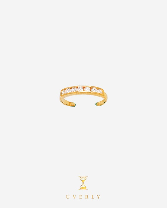 14k Solid Yellow White Gold Cubic Zirconia CZ Adjustable Toe Ring