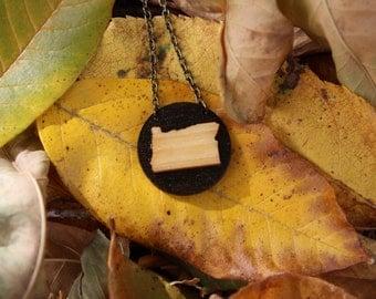 "Oregon Necklace - 16"" Antique Brass Chain - State Necklace - Oregon Jewelry - State Jewelry - Oregon Pendant - State Pendant"
