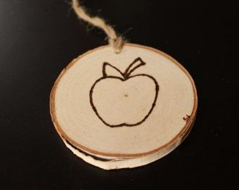 Number One Teacher Ornament, Wood Tag #1 Teacher, Teacher Gift, Favorite Teacher, Apple Ornament, Teacher Appreciation,