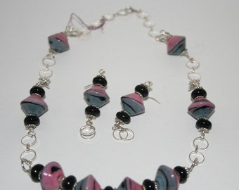 lampwork bead necklace and earring set in pink and grey