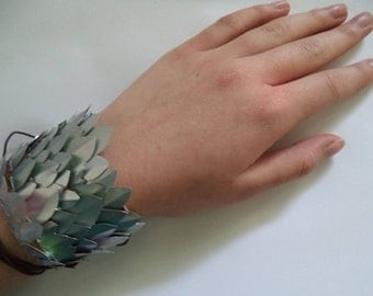 Metal Dragon Scale Cuff Bracelet