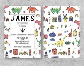 Dinosaur Birthday Invitation, Dinosaur Birthday Invite, Colourful Dinosaur Invites, Cute Dinosaur Invitation, Boys Dinosaur Invites