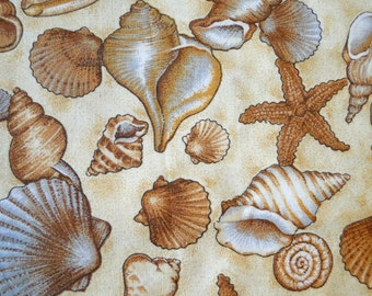 Seashell, Cotton, Fabric Remnant, Vintage Fabric, 20x21 inches
