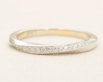 Mobius Diamond Ring Twist Wedding Band 14K Gold Half Eternity Engagement Set Infinity Handmade
