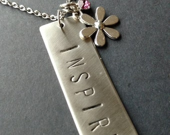 "Hand Stamped Stainless Steel Necklace ""Inspire"", Flower Necklace, Metal Jewellery, Handstamped Necklace, Gift for Teacher, Inspire Necklace"