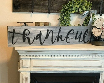 Thankful Sign / 3 ft / hand painted wall decor / farmhouse Country style