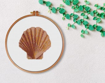 Sea Shell Cross stitch Pattern PDF / Printable PDF Chart / crossstitch / Ocean Cross Stitch / Beach cross stitch / xstitch pattern