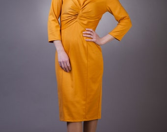 Mustard pencil dress Mustard dress with sleeves Mustard yellow dress Mustard wrap dress Mustard jersey dress Wrap jersey dress Office dress