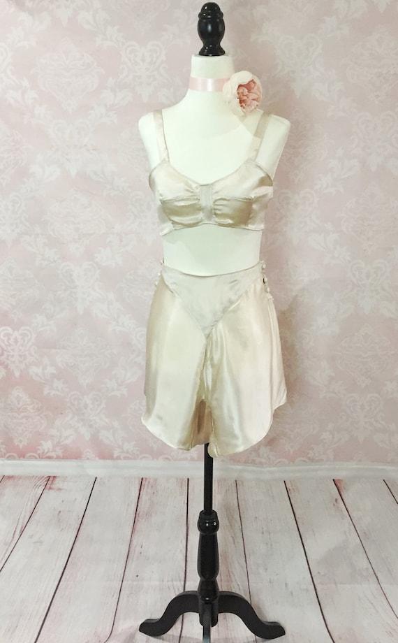 1920s Style Lingerie 1920s tap pants silk fabric sexy lingerie panties art deco retro pinuprockabilly french knickers lingerie set vintage setvintage $155.23 AT vintagedancer.com
