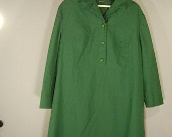 True vintage 70s dress XXL plussize dress green green knee-length minimalist classic preppy
