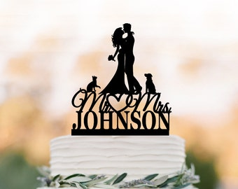 Personalized Wedding Cake topper mr and mrs, Cake Toppers with dog, bride and groom silhouette cake toppers with cat