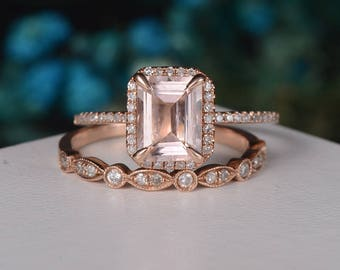 Emerald Cut Morganite engagement Ring Unique Rose Gold Bridal Set Antique Diamond Halo Half Eternity  Wedding Band Anniversary Gift For Her