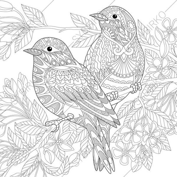 Adult Coloring Pages. Sparrow Birds. Zentangle Doodle Coloring