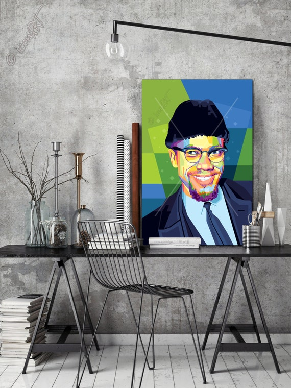 Wall Art In Memory Of Malcolm X Personalized Gift Art