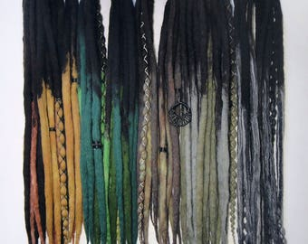 DE merino wool dreads dreadlocks [Forest Path] witch,forest,grey,green,balck,tribal,antique,strega,boho,ombre,bohemian,full head