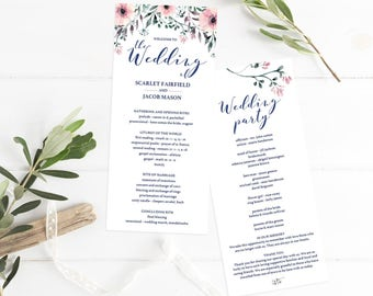 Floral Wedding Program Template DIY Wedding Programs Instant Download Order of Service Printable Wedding Ceremony Program Editable Wedding