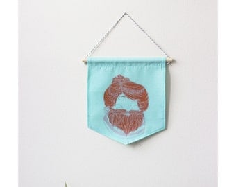 2 colors wall banner - Petite femme à barbe - Turquoise fabric with white peas