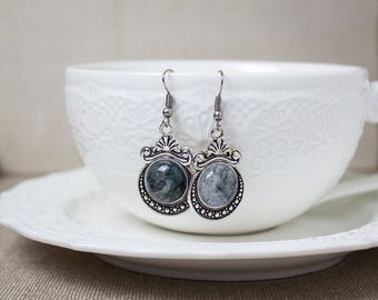 Agate earrings, Grey earrings, Aquatic agate, Victorian earrings, Antique earrings, Silver earrings, Victorian jewelry, Gift for her